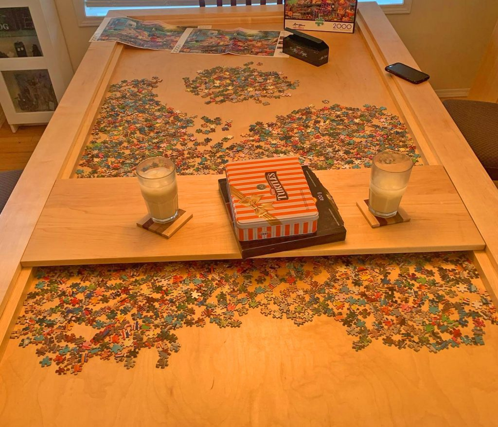 a table to allow you to puzzle without cats stealing pieces while we are away