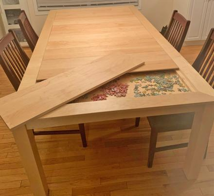 This Amazing Dining Table Has a Hidden Game/Puzzle Compartment Under The Surface