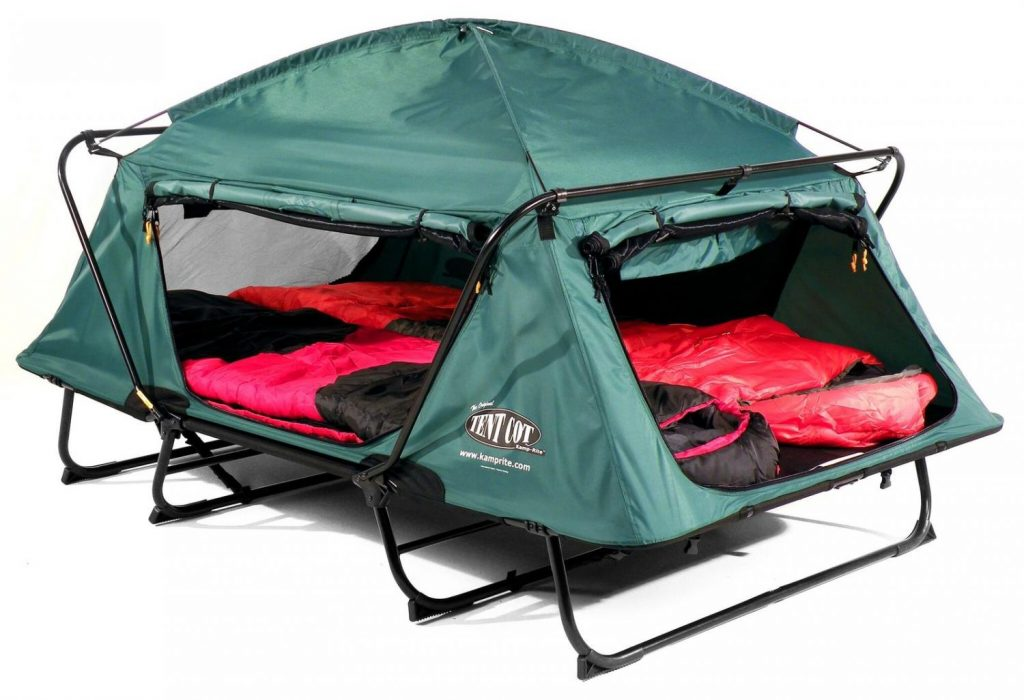 Double tent cot (Kamp-Rite) with sleeping bags in