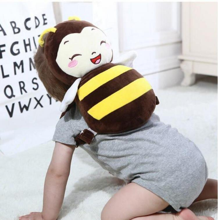 Smiling bee shaped baby head protector backpack