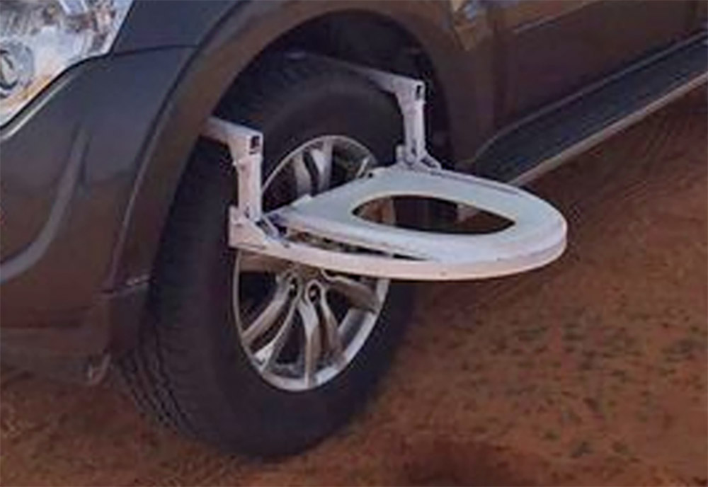 car tire toilet